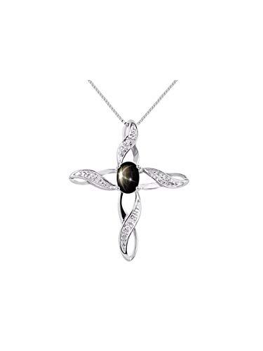 RYLOS Simply Elegant Beautiful Black Star Sapphire & Diamond Pendant Necklace - March Birthstone Black Sapphire Diamond Necklace
