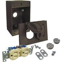 Hubbell-Bell 5839-7WRTR 1-Gang Weatherproof Flip Kit, Includes WR/TR Duplex, Box, and Cover, Bronze