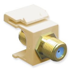 - ICC Module F-Type Gold Plated 3GHZ Keystone Faceplates Ivory Bezel Connector