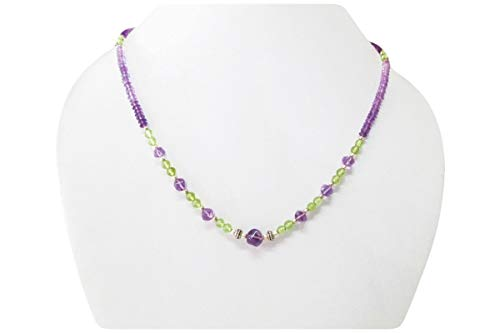 Handmade Amethyst & Peridot Bead Necklace Strand with Sterling Silver Findings 16