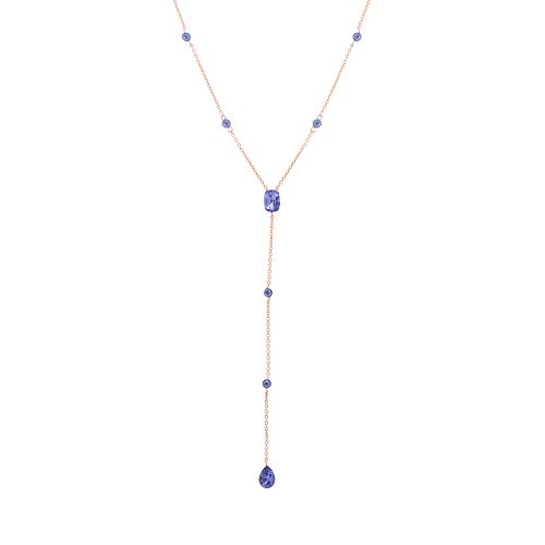 Devin Rose Y Style Teardrop Cable Chain Necklace for Women in Rose Gold Plated Brass Made with Swarovski Crystal (Color: Tanzanite)