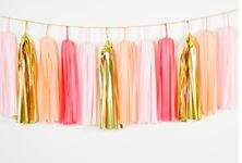 20pcs Tissue Paper Tassel Garland Coral ,Light Pink,Peach,Foil Gold Mylar Mixed Colors Bunting for Baby Shower, Bridal Shower, Birthday Party, Nursery Decoration Pom Poms by Fascola
