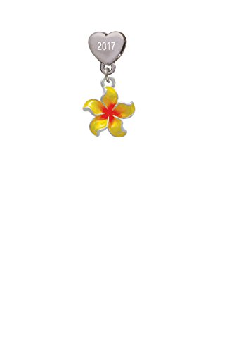 Yellow and Orange Plumeria Flower Custom Year Stainless Steel Heart Bead Charm