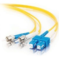 C2G/Cables to Go 24762 SC-ST 9/125 OS1 Duplex Single-Mode PVC Fiber Optic Cable (5 Meters, Yellow)