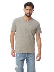Classic Fit Logo T-shirt - RALPH LAUREN Polo by Mens Classic Fit Pony Logo V-Neck T-Shirt (L, Grey Heather)