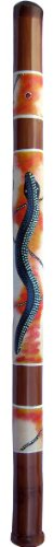 Bamboo Aborignal Snake Didgeridoo, 4 feet long, with primitive painted Aboriginal snake design. Made in Bali. From our Bamboo Didgeridoo and Musical Instruments Collections.