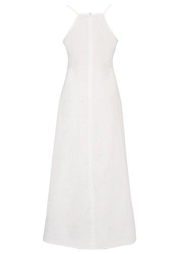 Mujeres Vintage Summer Slit Vestido largo V cuello Spaghetti Strap Dress Blanco