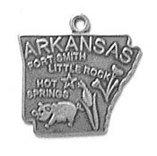 (Sterling Silver Arkansas State Charm with Split Ring)
