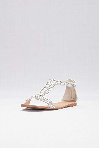 David's Bridal Crystal and Jewel Embellished Flat Sandals Style Posey, Silver, - Heel Flats Dyeable Wedding Shoes