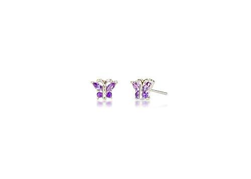 Tourmaline Butterfly Ring (Surgical Stainless Steel Studs Earrings Little Girl - Women Butterfly Shape Birthstone Cubic Zirconia Hypoallergenic Earrings)