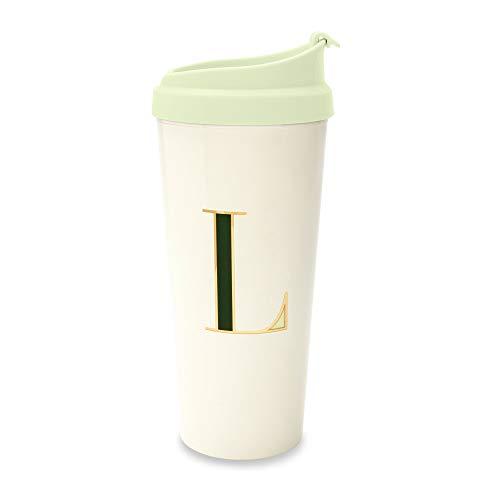 Plain Thermal Mug - Kate Spade New York Women's Initial Thermal Travel Mug Tumbler, 16oz, L (Green)
