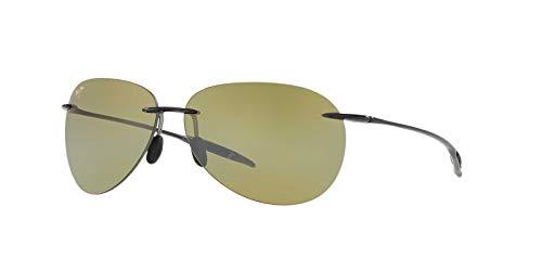 Maui Jim Sugar Beach HT421-11 | Sunglasses, Smoke Gray Frame/Green Maui Ht Lens, 62 mm