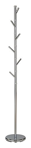 Kings Brand Juno Chrome Finish Metal Hall Tree Hat & Coat Rack Stand - Metal Finish Coat Rack