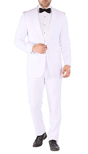 Ferrecci Men's Reno 2 Piece White Slim Fit Shawl Lapel Tuxedo - -