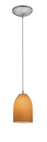 Bordeaux Glass Pendant - 1-Light Pendant - Cord - Oil Rubbed Bronze Finish - Wicker Amber Glass Shade (Finish Wicker Shade)