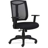 Lorell Made in America Mesh Back Chair with Air Grid Fabric Seat, Black, -