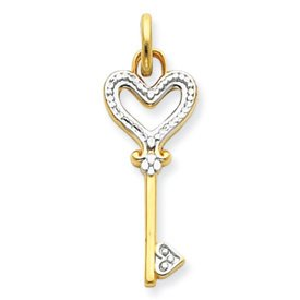 14k Rhodium Heart Key Charm
