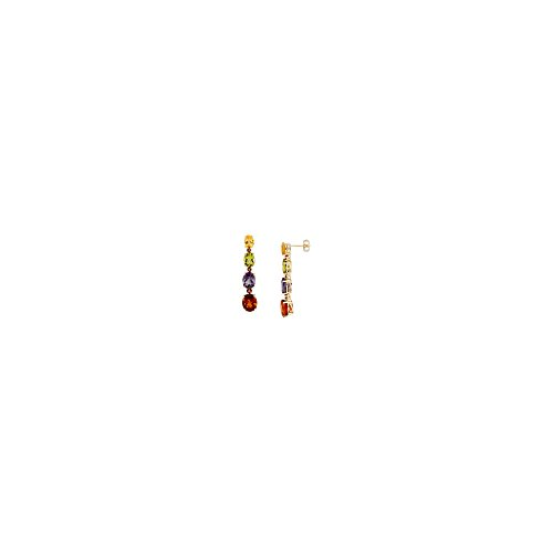 14k Multi Stone Dangle (14K Yellow Gold Multi-Gemstone Dangle Post Earrings)
