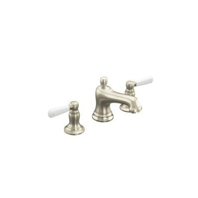 KOHLER Bancroft Widespread Lavatory Faucet with White Ceramic Lever Handles