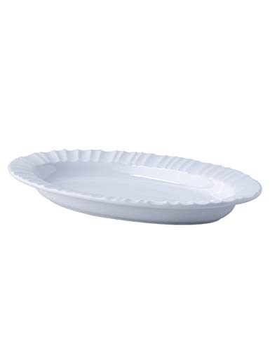 F&W FW European Porcelain Oval Plate, Pasta/Steak/Pizza/Salad/Disc/Ceramic Dishes, Suitable for Microwave Ovens, Dishwashers, Disinfection Cabinets