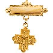 4 Way Cross Baptismal Pin - 14K Yellow Gold 12Mm 4-Way Cross Baptismal Pin
