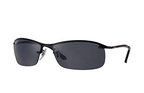 Ray-Ban Men's RB3183 Sunglasses (Black Frame, Solid Black Lens) (Ray Ban Sunglasses For Men In Pakistan)