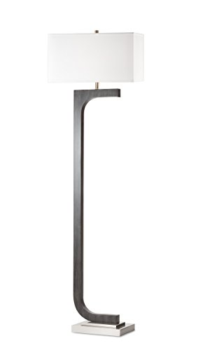 NOVA of California 2011389CG Horseshoe Contemporary Wood Floor Lamp with LED Night Light, Charcoal Gray Finish, Perfect for Living, Den, Family Room, Office, Bedroom