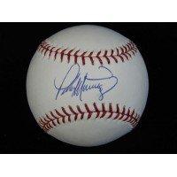 Signed Martinez, Pedro MLB Baseball in blue ink on the Sweet Spot (Martinez Autographed Mlb Baseball)