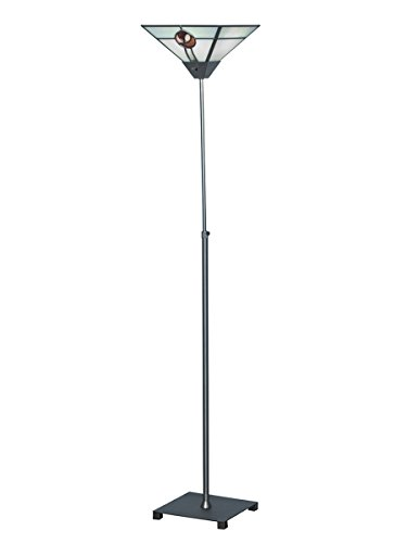Rose Traditional Torchiere Lamp (Springdale STR17010 Mack Rose Tiffany Torchiere Lamp, Satin Nickel)