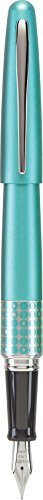 - Pilot MR Retro Pop Collection Fountain Pen, Turquoise Barrel with Dots Accent, Fine Nib, Black Ink (91436)