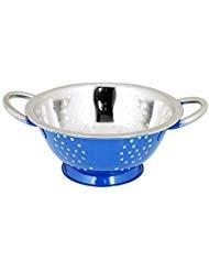 Kosma Stainless Steel Twin Handle Colander- Blue Colour with Mirror Finish Interior | Premium Tableware in 28 cm (Best Multi Purpose Steam Cleaner Uk)