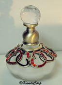 Perfume Bottle - Frosted Glass with Small Red Hearts, Light Siam Rhinestones and Crystal Top