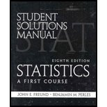 Student Solutions Manual for Statistics : A First Course, Farber, Betsy, 0130466557