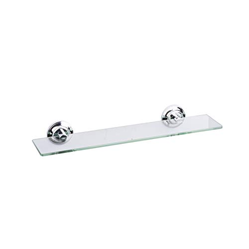 18 Inch Tempered Glass Shelf by LDR, paired with Zinc Alloy Wall - Glass Tempered Mirrors Bathroom