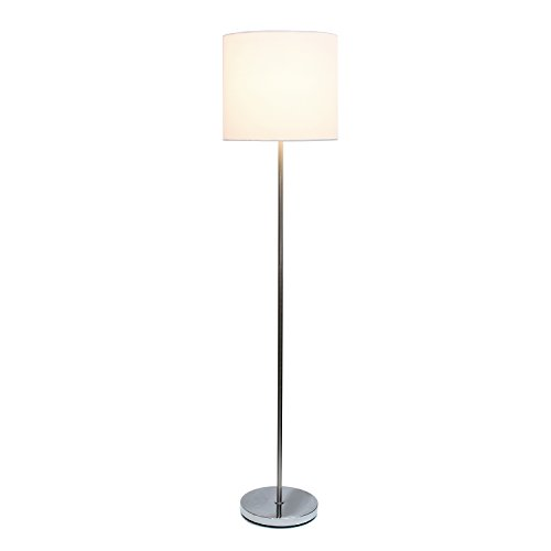 (Simple Designs Home LF2004-WHT Brushed Nickel Drum Shade Floor Lamp, White Brushed Nickel Drum Shade Floor Lamp, 13.25