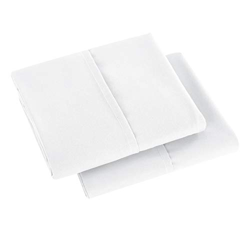 Pillowcases Standard Size Superior Soft 100% Double Brushed Microfiber Exquisite Stitched Tailoring,Envelope Closure End,Set of 2-White