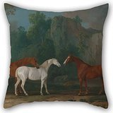 Artistdecor Pillowcase 20 X 20 Inches / 50 By 50 Cm(twin Sides) Nice Choice For Dining Room,drawing Room,bench,boys,bar,floor Oil Painting Sawrey Gilpin - Three Hunters In A Rocky Landscape ()