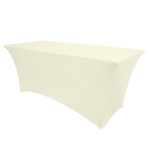Ultimate Textile (3 Pack) 8 ft. Fitted Spandex Table Cover - for 18 x 96-Inch Tradeshow, Classroom and Folding Rectangle Tables - 36''H, Ivory Cream by Ultimate Textile (Image #1)