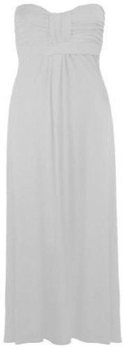 Womens Plus Size tetta Knot Maxi strap less Stretch Summer Beach Maxi (White, UK 12-14/EU 40-42)