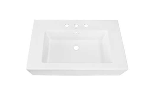 RONBOW ESSENTIALS Prominent 32 Inch Sinktop with 8 Inch Widespread Faucet Hole in White 217732-8-WH - Wide Base Single Hole Faucet