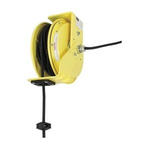 KH Industries RTB Series ReelTuff Industrial Grade Retractable Power Cord Reel with Black Cable, 12/3 SJOW Cable, 20 Amp, 50' Length, Yellow Powder Coat - Cable Sjow