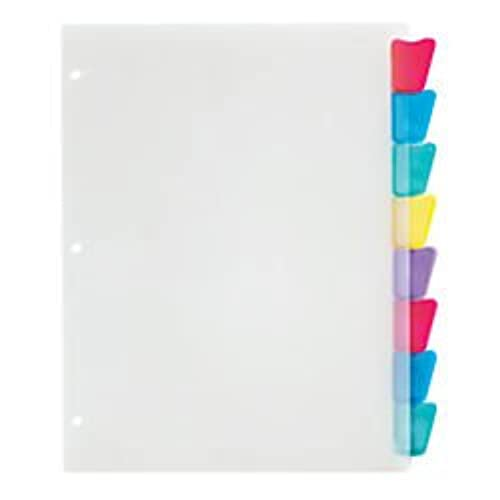 Office Depot Plastic Dividers With Insertable Rounded Tabs, Assorted  Colors, 8-Tab,