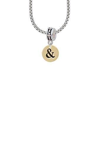 1/2' Enamel Jewelry Pendant - Gold Tone Disc 1/2'' - Symbol - Ampersand - & - Cross Bead Necklace