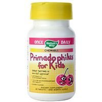Natures Way Primadophilus Kids Cherry Chewable Tablet - 30 per Pack - 6 Packs per case. Chewable Cherry 30 Tabs