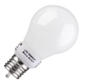 Litetronics MicroBrite MB-502D - 5 Watt CFL Light Bulb - Compact Fluorescent - Dimmable C - 30 W Equal - Cool White - 25,000 Life Hours