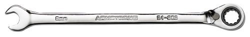 Armstrong 54-808 8mm 12 Point Full Polish Reversible Combination Ratcheting Wrench