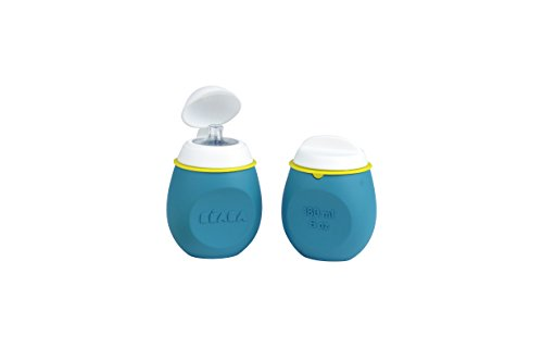 BEABA BabySqueez 2 Pack – Soft Reusable, Portable and Refillable Silicone Baby Food Pouch - Great for Purees, Smoothies, and Snacks - Includes 2 Different Spouts for 2 Stages – Holds 6 oz (Peacock