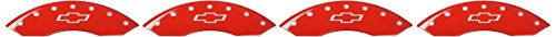 MGP Caliper Covers 14005SBOWRD Caliper Cover (Red Powder Coat Finish, Engraved Front and Rear: Bowtie, Silver Characters, Set of 4)