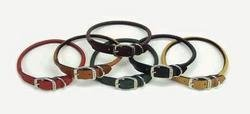 Coastal Pet Circle T Oak-Tanned Rolled Leather Dog Collar | Tan Color | 3/8