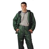 STORM-CHAMP S66218.LG 2 Piece PVC/Nylon Zipper Front Plain Pants with Attached Hood, Large, Green